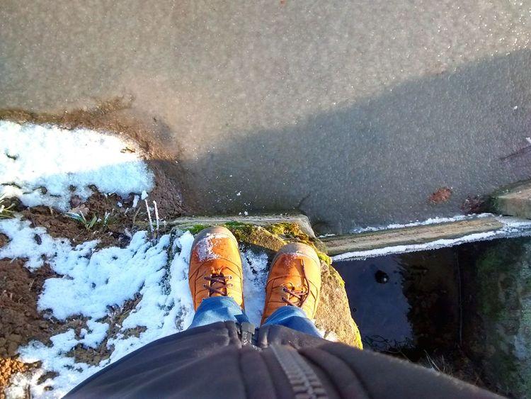 Winter Winter Wonderland Pond Ice Frozen Frost Shoes Legs Walking Around EyeEm Poland