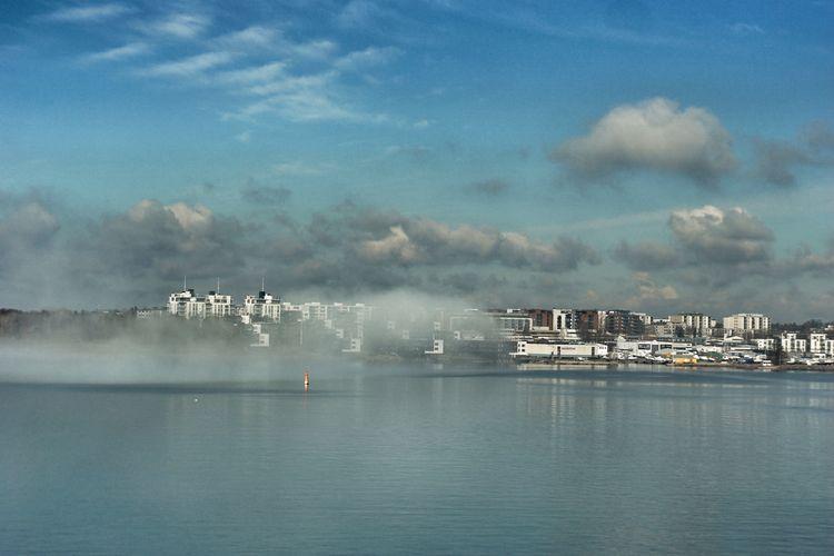 Mist Misty Foggy Fog Bird Water Sea Sky Landscape Shore Buoy Moored Boat Horizon Over Water Harbor