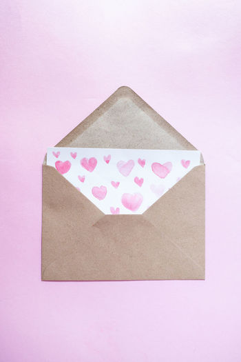 High angle view of heart shape on paper against white background