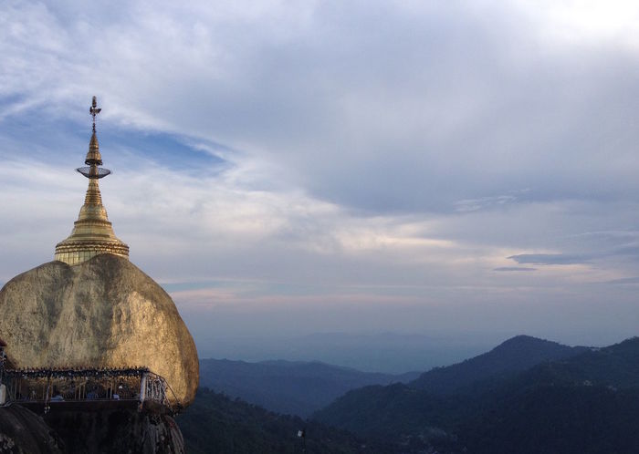 Buddhism Cloud Cloud - Sky Cloudy Dusk Fog Gold Golden Golden Rock Golden Rock Pagoda Goldenrock Horizon Over Land Landscape Myanmar Outdoors Religion Scenics Sky Spirituality Tranquil Scene Tranquility Weather