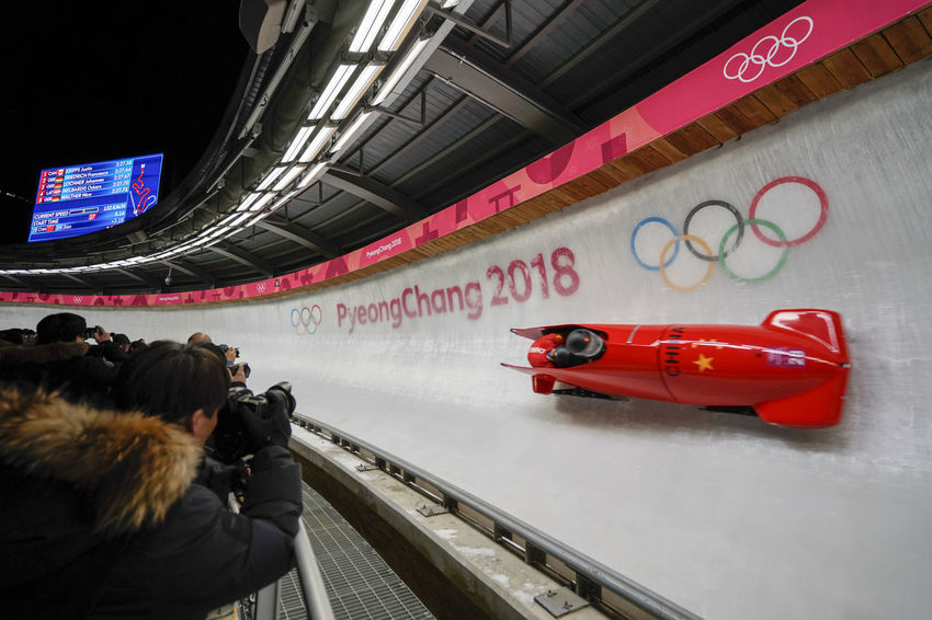 2-man Bobsleigh Heat 1 at alpensia sliding centre in pyeongchang2018 winter olympic games 2-man Bobsleigh 2-man's Bobsleigh 2-men's Bobsleigh Bobsled Olympic Olympics Sled Sledge Sleigh Winter Winter Sport Alpensia Sliding Center Alpensia Sliding Centre Bobsleigh China Chinese Night Olympic Games Olympic Sliding Center Olympic Sliding Centre Olympicgames Pyeongchang Olympic Games Pyeongchang2018 Sport Winter Sports