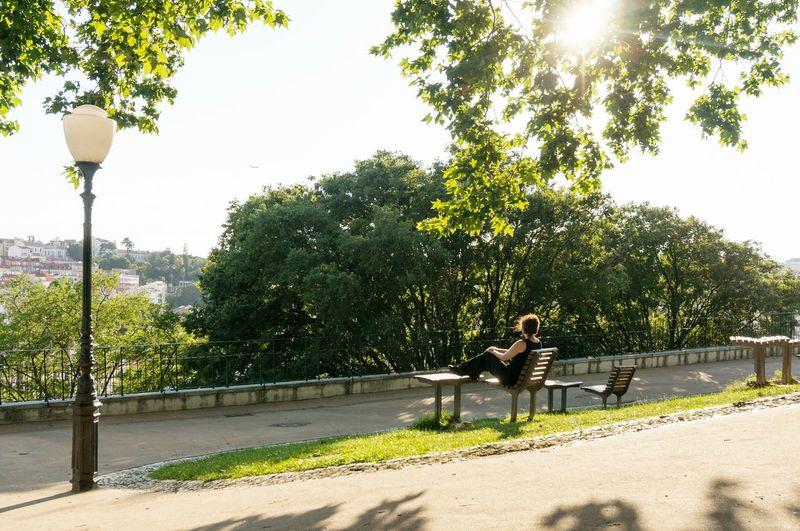 Woman Sitting On Bench In Garden