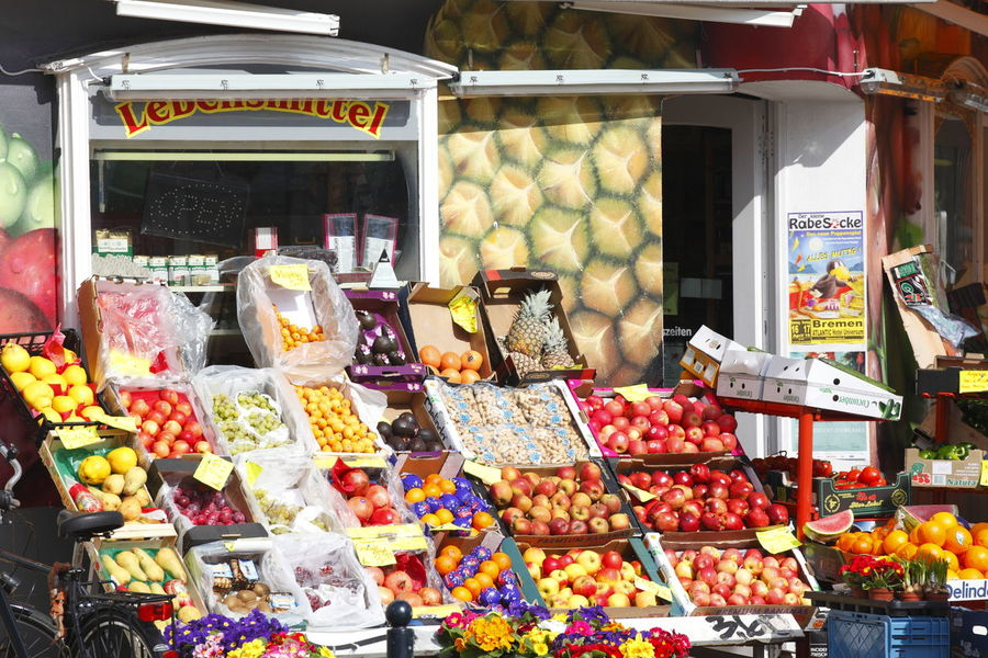 Greengrocer's, food store in Steintorviertel Quarter, Bremen, Germany Bremen Choice Day Food Food And Drink For Sale Freshness German Greengrocer Greengrocery Market No People Outdoors Ready-to-eat Retail  Store Sweet Food Temptation Variation Vegetables