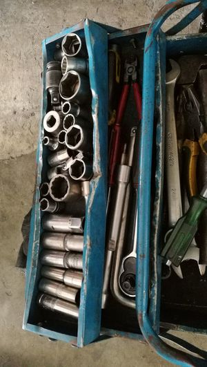 mechanic tools and workshop Garage Blue Boxes Blue Container Mechanic Tools Top Perspective Workshop Indoors  Mechanical Hand Tool Work Tool Close-up