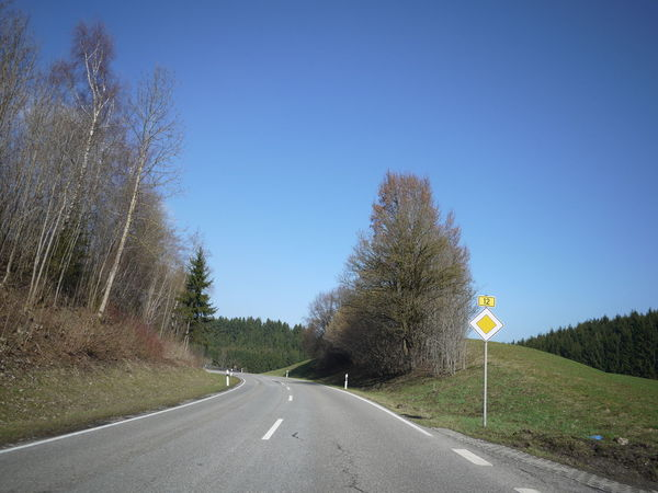 Trafficsign in south Germany Allgäu Guiding Traffic Asphalt Beauty In Nature Blue Clear Sky Curve Day Dividing Line Grass Guidance Guide Nature No People Outdoors Road Road Marking Road Sign Sky The Way Forward Traffic Sign Transportation Tree Winding Road