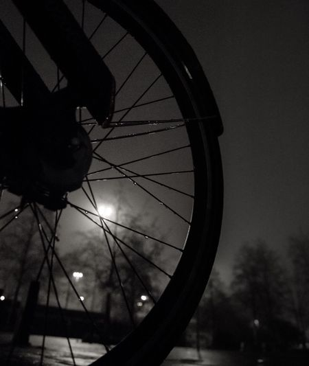 Foggy city nights EyeEmNewHere Night Streetphotography Long Exposure Water Wet Foggy City Scape City Lights City Night City Black And White Bnw Photography Bnw Blackandwhite Silhouette Bicycle Outdoors Low Angle View No People Close-up Day The Graphic City EyeEmNewHere