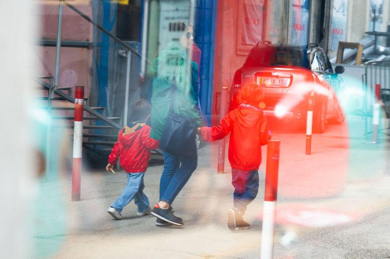 City Warm Clothing Men Ice Rink Women Full Length Red Young Women City Life Togetherness Umbrella Rain RainDrop Subway Platform Under Subway Train Rainy Season Sidewalk Raincoat Pedestrian Monsoon