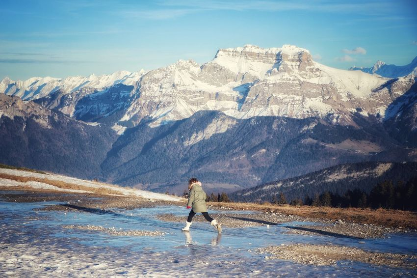 Girl Mountain Snow Cold Temperature The Natural World Winter Full Length Standing Snowcapped Mountain