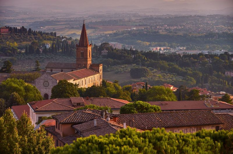 Umbrian landscape, Italy Umbria Italy Perugia Golden Hour Landscape Dusk Sundown Countryside Rural Sky And Clouds Church Spire  Trees Forest Nature Outdoors No People Tower Spire  Travel Destinations Clouds Historical Building