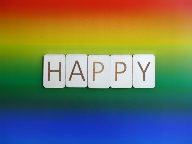 Happy Word Pride Lgbt Pride Lgbt Happy Rainbow Colors Rainbow Typography Letters Wooden Letters Wooden Text Western Script Communication Green Color No People Indoors  Yellow Multi Colored Close-up Day