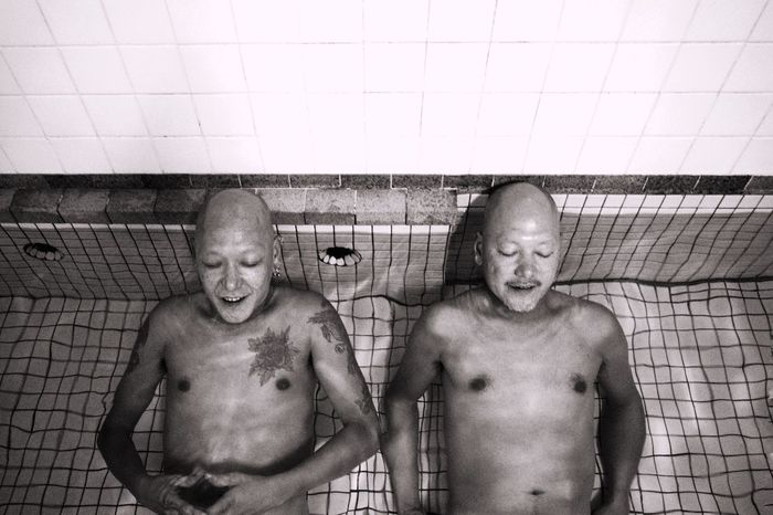 """picture of """"The Twins"""" The Twins Twins Blackandwhite Photography Black & White Black And White EyeEm Gallery EyeEm Best Shots Shirtless Domestic Bathroom Taking A Bath Bathroom Indoors  Happiness The Week On EyeEm Editor's Picks"""