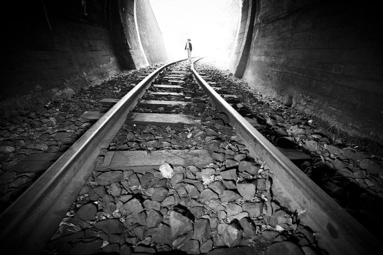 Abandoned Absence Day Diminishing Perspective High Angle View Leading Long Narrow Public Transportation Rail Transportation Railroad Track Railway Track Steps Straight Surface Level The Way Forward Train Transportation Vanishing Point