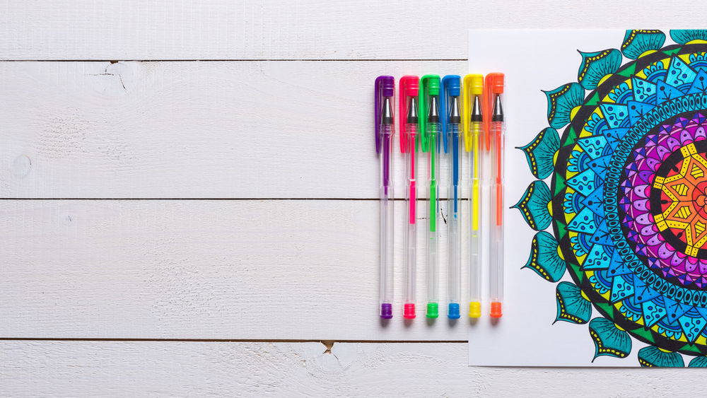 Adult colouring book, new stress relieving trend, flat lay background with copy space Adult Art And Craft Books Calming Copy Space Creativity Relief Stress Therapy Background Book Colouring  Colouring Book Concept Empowering Escape Flat Lay Hobby Lifestyles Mindfulness Relax Relaxation Self Care  Top View Unplugged