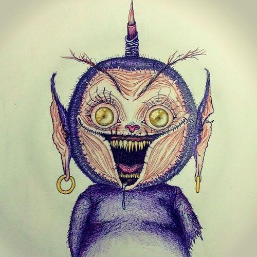Teletubbies TinkyWinky Dipsy Lala po drawn sketch colored work realistic illustration handmade madebyme me perfect wonderfull amazing breathetaking halloween edition