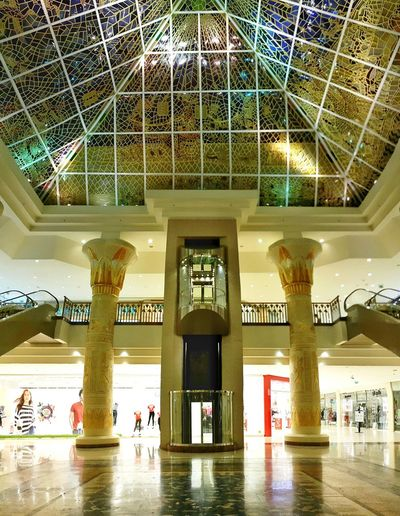 Wafi Mall Majestic Beautiful Architecture Middle East Wafimall Dubai Mall Interior EyeEm Gallery Beautiful Architecture Building Interior Interior Design Your Design Story Neighborhood Map Indoors  Built Structure Ceiling Low Angle View No People Architectural Column Illuminated