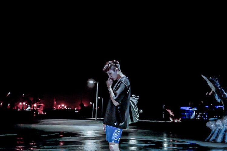 Illuminated standing against sky at night