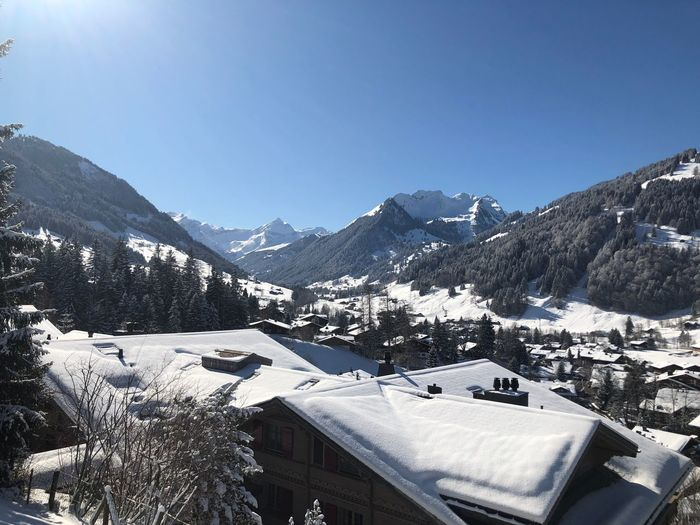 This morning I❤️Gstaad Bolonie Style Bolonie Art Bolonie Snow Cold Temperature Winter Mountain Building Exterior Built Structure House Nature Clear Sky Beauty In Nature Sky Snowcapped Mountain Tranquil Scene Roof Outdoors Day Scenics Mountain Range Architecture No People