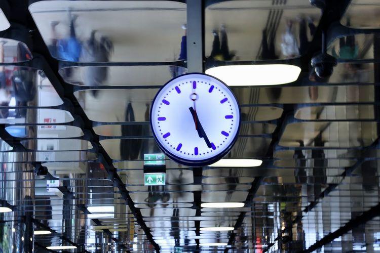 Close-up of clock at railroad station