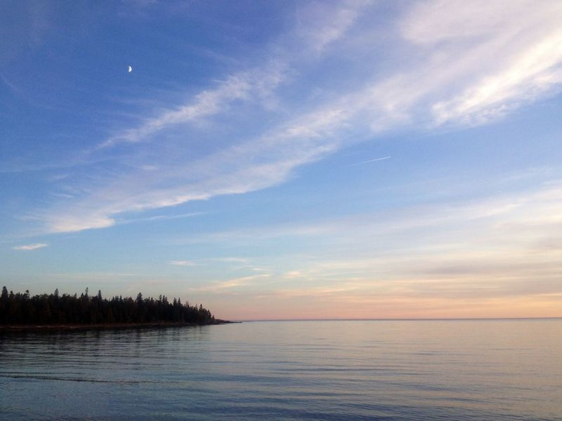 Looking south from Carter Bay on Lake Huron in the province of Ontario. Beauty In Nature Day Horizon Over Water Idyllic Lake Huron, Canada Moon Over Water Nature No People Outdoors Scenics Sky Tranquil Scene Tranquility
