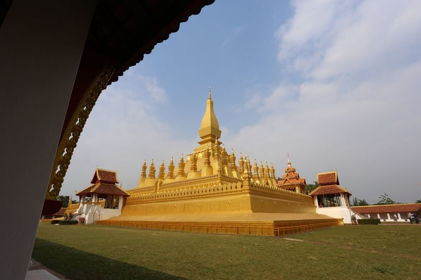 Vientiane Pha That Luang Buddhism Stupa Built Structure Architecture Sky Religion Belief Building Building Exterior Gold Colored Travel Destinations Outdoors