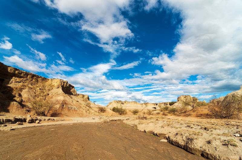 Scenic view of dry riverbed at tatacoa desert