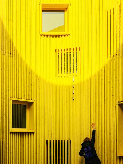 🇸🇪 EyeEm Best Edits Minimalist Minimalist Architecture Minimal Minimalism Yellow Yellow Color Architecture_collection Architectureporn Architecturelovers Arch Architectural Design Architecturephotography Architectural Detail Symmetry Modern Architecture Architecture IPhoneography EyeEmBestPics The Week on EyeEm Editor's Picks Yellow Architecture Built Structure Building Exterior Wall - Building Feature One Person Wood - Material Lifestyles Sunlight Outdoors