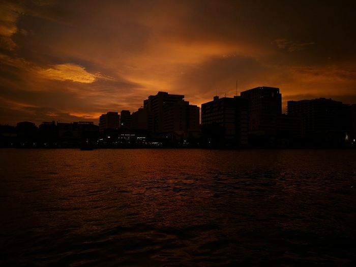 Sunset and Buildings Sunset No People Outdoors Night Sky Water Illuminated Architecture Siriraj Hospital Bangkok Bangkok Thailand.