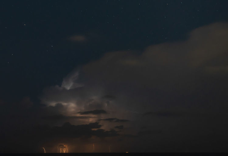 Low angle view of storm clouds at night