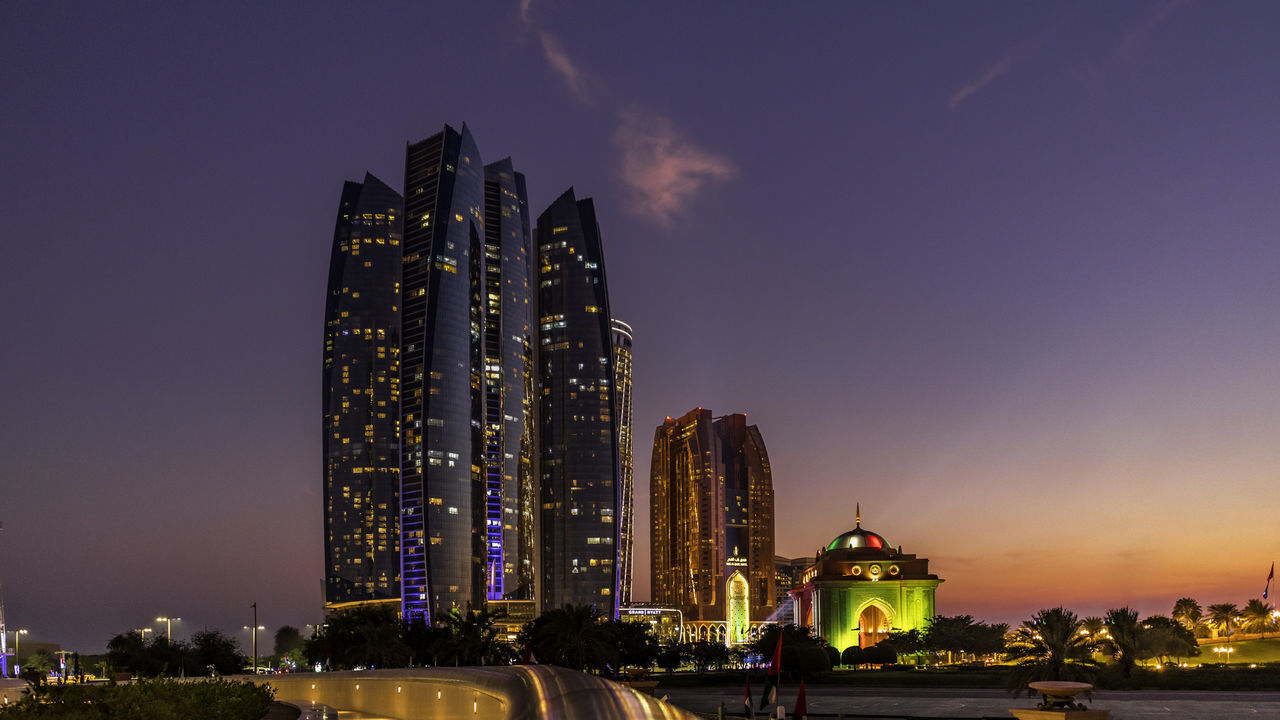 building exterior, architecture, built structure, sky, building, illuminated, city, night, tall - high, nature, office building exterior, skyscraper, tower, no people, travel destinations, place of worship, office, religion, modern, outdoors, luxury, financial district