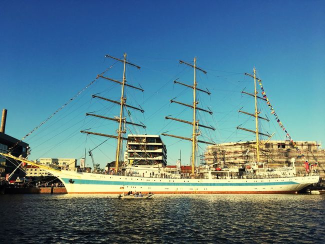 Nautical Vessel Transportation Blue Built Structure Architecture Mode Of Transport Day Sky Outdoors Moored Clear Sky No People Water Harbor Building Exterior Nature Sea MIR russian Russian Windjammer Seestadtfest Bremerhaven Schulschiff Training Vessel