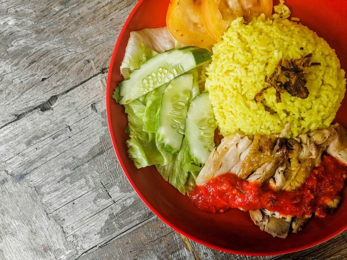 chicken rice Bowl Vegetable Directly Above High Angle View Close-up Food And Drink