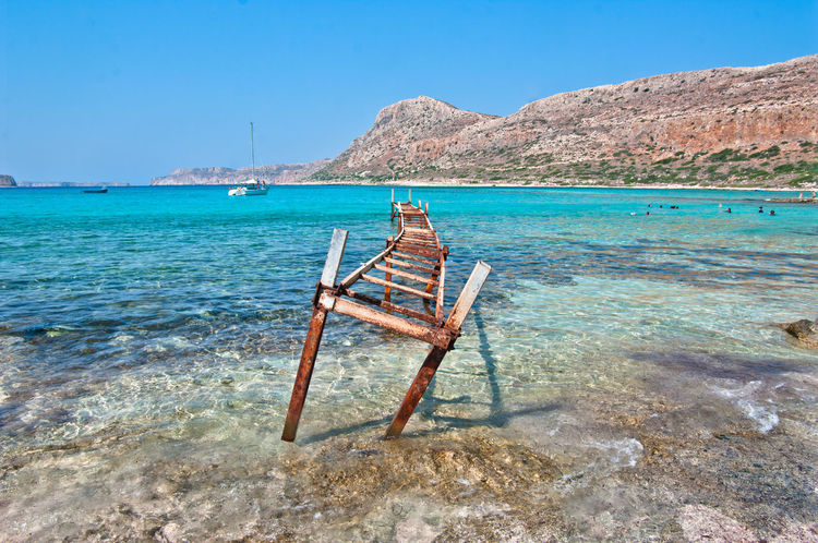 ruins pier Architecture Balos Greece, Crete Holidays Mediterranean  Pier Ruins Travel Balosbeach Beach Crete Crystalwater Dock Greekislands Nature Paradise Scenics Yatch