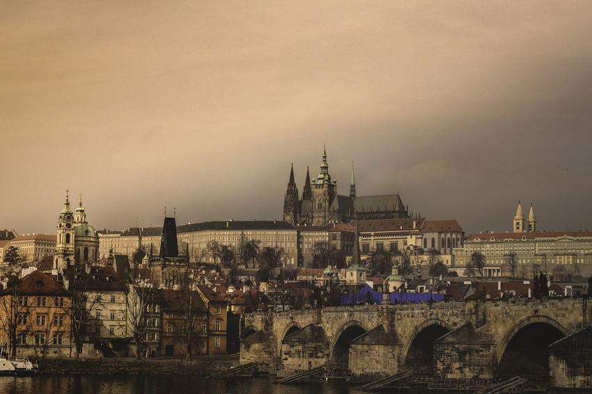 #Prague #cinematic Architecture Castle Charles Bridge Architecture Bridge - Man Made Structure Building Exterior Built Structure City Cityscape Connection Day No People Outdoors River Sky Travel Destinations Shades Of Winter