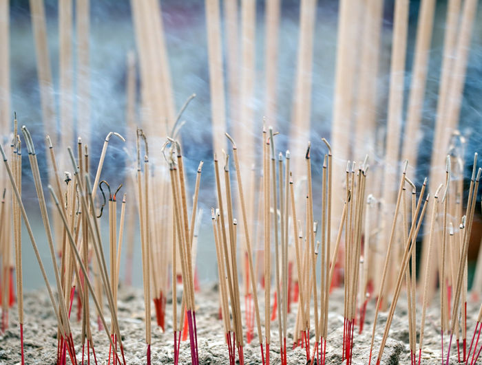 Close-up of incense burning