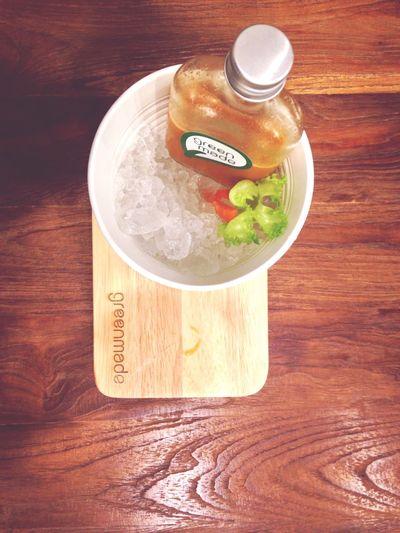 Brain energizer drink Healthydrink Juice Drink Bottle In Bucket White Ice Bucket Carrot Juice Red Apple Mints Lime