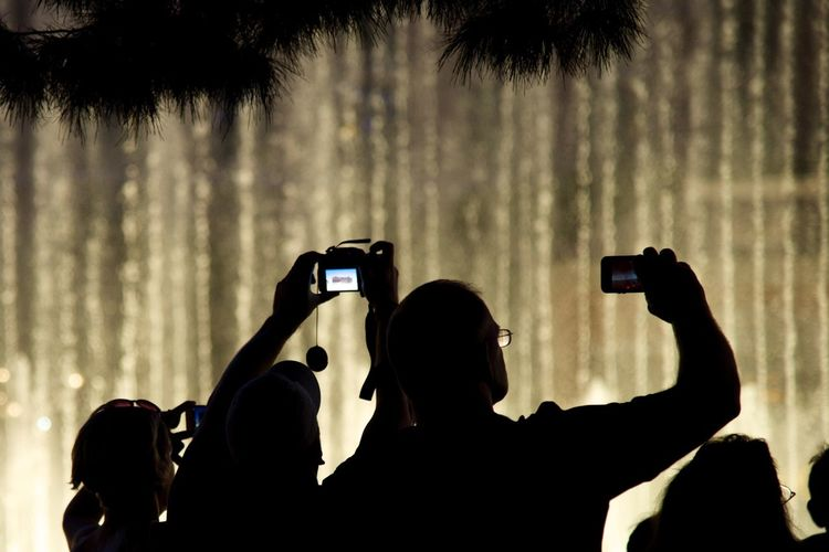 Rear view of people clicking photograph of lights