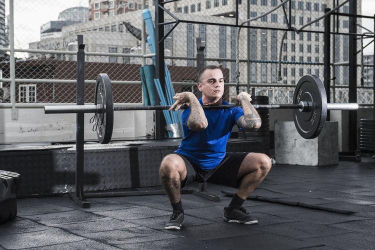 Full length of man climbing outdoors