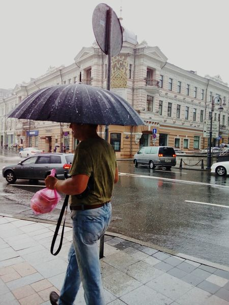Life in the rain Moving Man Man Wet City Cityscape Cars City Life Day Rain Raining Rainy Day Road Crossroad Street Umbrella Footpath Architecture August