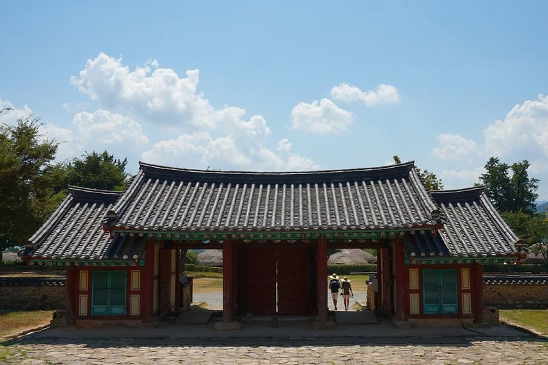 Architecture Traditional Architecture Building Exterio Built Structure Two Is Better Than One Entrance Architectural Column Façade History Roof Outdoors Famous Place Cloud - Sky Blue In Front Of Suncheon South Korea Architectural Feature Tourism Tourist Historic The Past Eaves Taking Photos Traveling