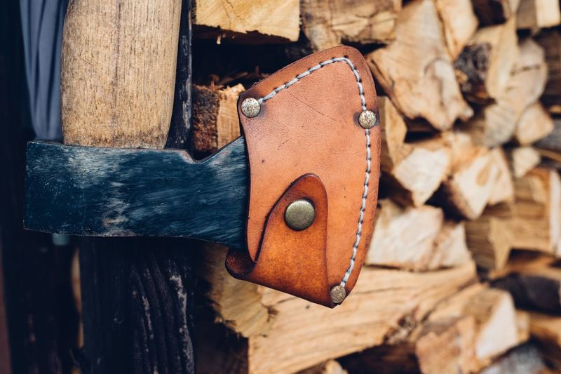 Ax Leather Old School Ax Wood - Material Metal Protection Safety Lock Close-up No People Old-fashioned Outdoors