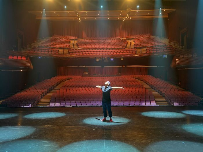 on stage Stage - Performance Space Musical Theater  Standing Muangthai Rachadalai Theatre Full Length One Person One Man Only Rear View Adults Only People Only Men Adult Occupation Indoors  Day First Eyeem Photo Huawei HuaweiP9 Musical Theater  Stage Theater Indoors