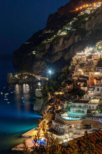 Positano by night. Night Reflection Outdoors Water Landscape Sea Tranquility No People Scenics Illuminated Nature Beauty In Nature Travelphotography EyeEmNewHere Vacanzeitaliane Travel Destinations Vacations Traveling Beach Positano, Italy Amalficoast