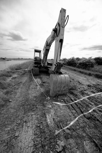 Digger In The Path Arun Blackandwhite Bulldozer Cloud - Sky Construction Industry Construction Machinery Dirt Earth Mover Environment Industry Land Landscape Machinery Outdoors River Sky Transportation