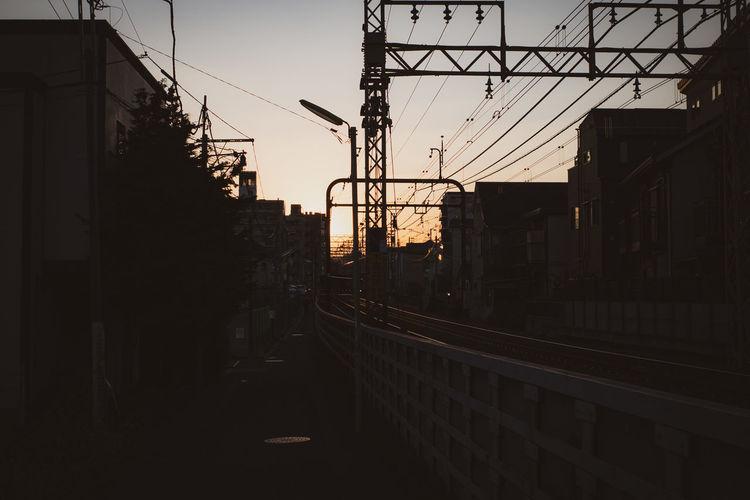 Sunset walking path along railroads