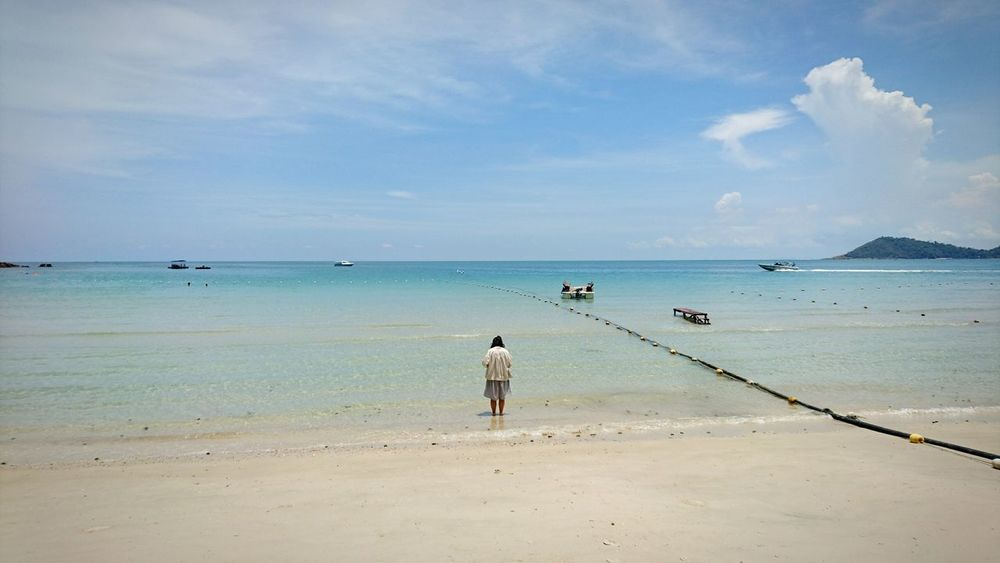 Sea Beach Horizon Over Water Sand Outdoors Cloud - Sky Full Length Travel Destinations Tranquility People Adult Nature Sky Day Water One Person Postcard Thailand Vacation Holiday Rayong,Thailand Samed Island
