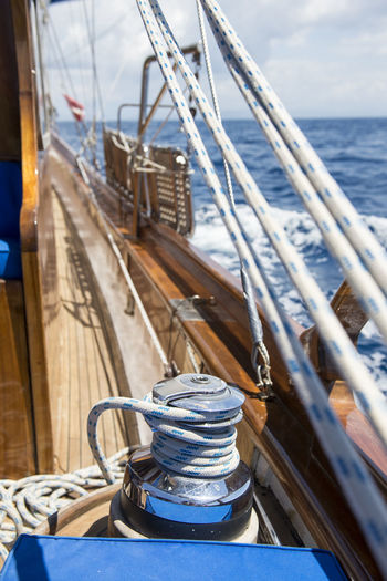 Nautical Vessel Transportation Water Mode Of Transportation Rope Sea No People Ship Day Deck Sky Sailboat Sailing Travel Outdoors Boat Deck Rigging Steel Yacht Luxury