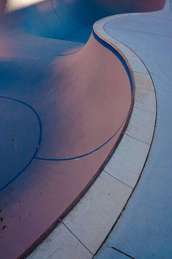 Blue skatepark court on the street in bilbao city spain