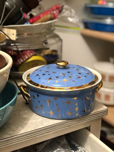 Pattern Starburst Gold Blue Casserole Midcentury Modern MCM Focus On Foreground Indoors  Table Close-up Container No People Blue Lid Still Life Craft High Angle View Food And Drink Food Kitchen Utensil Antique Circle