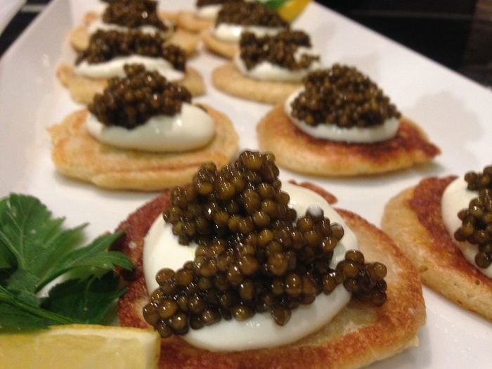 Delicious Sturgeon Cremefraiche Blinis Caviar Food And Drink Freshness Indoors  Close-up No People Garnish
