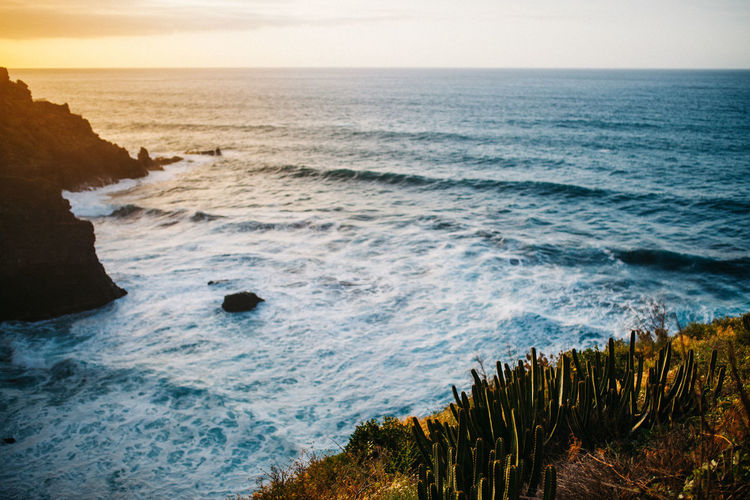 Sunset view - Tenerife Ocean View SPAIN Sunset_collection Aquatic Sport Beach Beauty In Nature Breaking Horizon Horizon Over Water Land Motion Nature Outdoors Rock Rock - Object Scenics - Nature Sea Sky Solid Sport Surfing Tenerife Water Wave